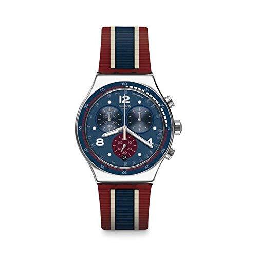 Swatch Reloj Cronógrafo para Hombre de Cuarzo con Correa en Caucho YVS449