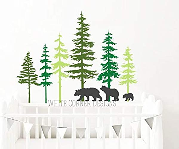CECILIAPATER 3 Color Pine Tree Forest Wall Decals Tree Wall Decals Forest Mural Bear Decals Large Wall Decals Children S Forest Decals Ga80