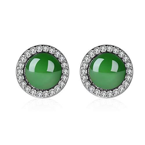 Arete Pendientes Azufre JoyeriaAretes de esmeralda Aretes de calcedonia verde Aretes redondos de ágata verde con incrustaciones de diamantes Aretes de jade Retro Lujo discreto Bisutería (Círculo)