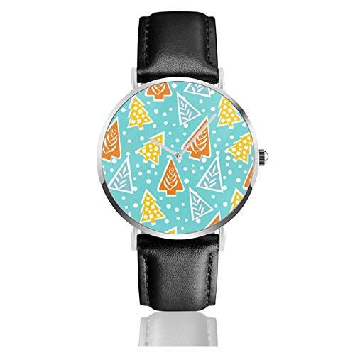 Damen-Armbanduhr, elegant, silberfarbenes rundes Gehäuse, PU-Lederband, modern, Funky, stilisiertes Weihnachtsbaum-Muster, analoge Quarzuhrwerk, modische Armbanduhr