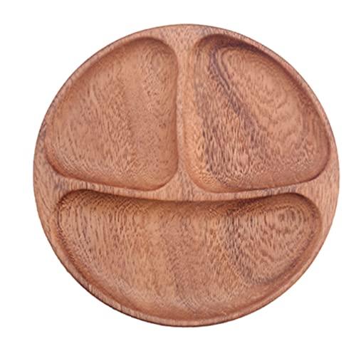 Angoily Plato de Control de Porciones de Madera Bandeja de Servicio de Alimentos Plato Dividido en Plato de Almuerzo de Dieta Plato de Servicio para Frutas Secas Ensalada de Verduras