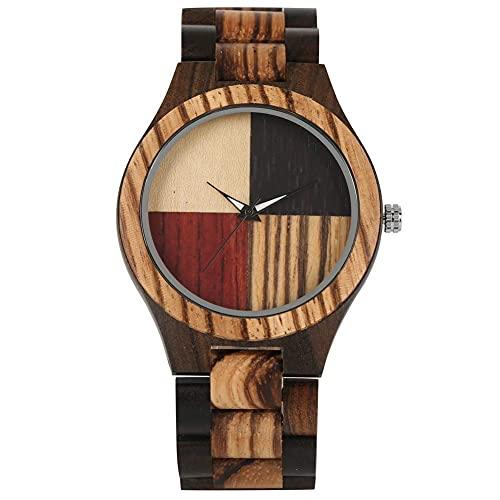 HYLX Reloj clásico de Madera de Cuarzo para Hombres, punteros Luminosos concisos, Relojes de Madera para niños, Duradero Reloj de Pulsera de Madera con Banda marrón roja para Mujeres