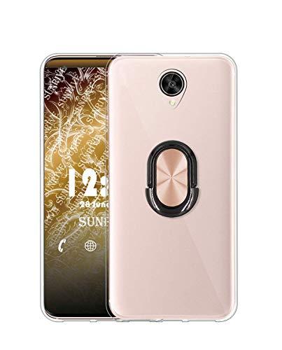 Sunrive Kompatibel mit Meizu MX6 Hülle Silikon, 360°drehbarer Ständer Ring Fingerhalter Fingerhalterung Handyhülle Transparent Schutzhülle Etui Hülle (A4 Rosa schwarz) MEHRWEG