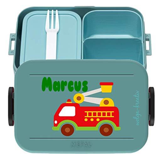 wolga-kreativ Brotdose Lunchbox Bento Box Kinder Feuerwehr Auto mit Namen Mepal Obsteinsatz für Mädchen Jungen personalisiert Brotbüchse Brotdosen Kindergarten Schule Schultüte füllen