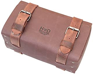 Hide & Drink, Leather Riveted Toiletry Bag/Grooming/Gym/Organizer/Travel Dopp/Bag/Travel Essentials, Handmade Includes 101 Year Warranty :: Bourbon Brown