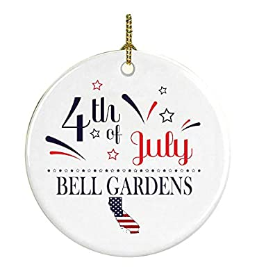 Patriotic Heart Ornament 4Th Of July Decorations For The Home Bell Gardens California Independence Day Decorations Declaration of Independence America Pride Ceramic 3 inches White