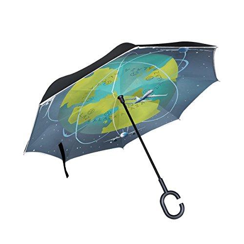 SKYDA Umkehr-Regenschirm Earth Planet mit Flugzeugen, umgekehrt, doppelschichtig, Winddicht, Regenschirm für Auto und Regen im Freien, mit C-förmigem Griff