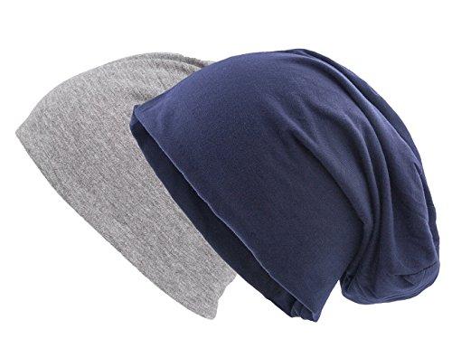 Shenky - Lot de 2 Bonnets de Printemps tombants - Jersey - Bleu Marine/Gris
