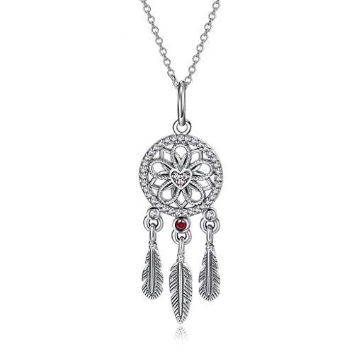 jinyi2016SHOP Collar de Inspiración Hoja clavícula S925 Plata Collar de Diamante Femenino Ideal del colector Collar de Cadena de la joyería Femenina Exquisita Decoración para Mujeres y Niñas