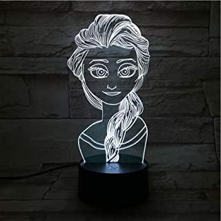 WoloShop Lampara LED Princesa Elsa Frozen Cambia Color USB Luz Nocturna Infantil