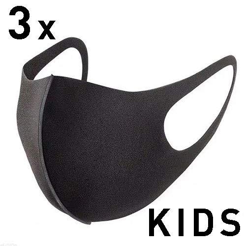 GC-TECH 3 x modische Mundbedeckung mit Elasthan f. d. perfekten Sitz waschbare Maske f. Kinder + Erwachsene (Kindermaske schwarz)