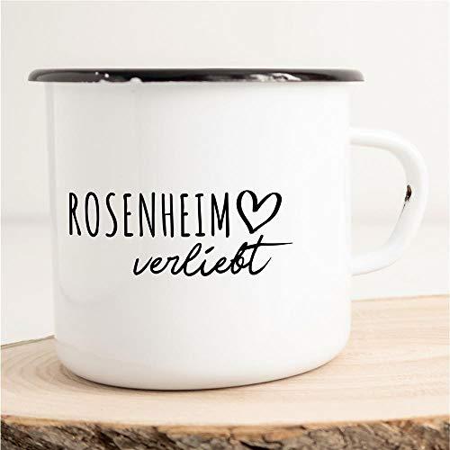 HELLWEG DRUCKEREI Emaille Tasse Rosenheim Verliebt Geschenk Idee für Frauen und Männer 300ml Retro Vintage Kaffee-Becher Weiß mit Stadt Namen für Freunde und Kollegen