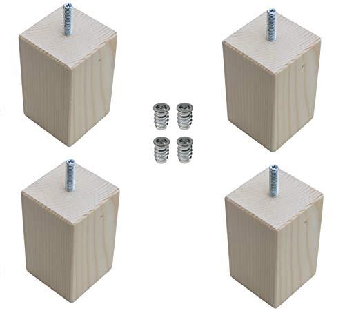 Moebelfusse Holz 4 x 55mm /H=100mm Möbelfüße rechteckig quadratisch Holz Möbelfuß Schrankfüße Schrankfuß Sofas Tische Betten BUCHEN HOLZ
