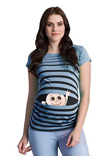 Winke Winke Baby - Lustige witzige süße Umstandsmode gestreiftes Umstandsshirt mit Motiv für die Schwangerschaft Schwangerschaftsshirt, Kurzarm (Babyblau, Medium)
