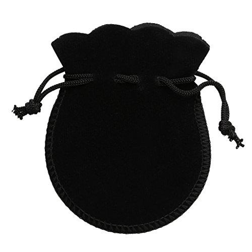 Lot 10pcs Pochettes en Velours Sac à Cordonnet Sachet de Bijoux Cadeaux pour Fête Anniversaire Mariage - Noir