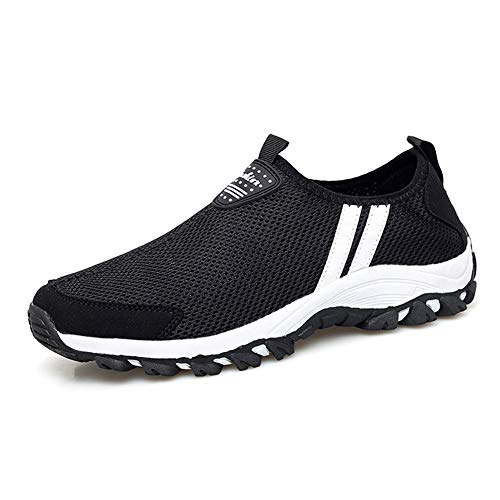 TAZAN Zapatillas De Running Para Malla Hombre,Pescador Playa Zapatos Casuales Transpirable Zapatilla De Senderismo Deportes Montaña Y Asfalto Zapatos Para Correr Negro Y Azul 35-44EU,Negro,43