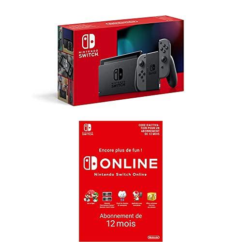 Console Nintendo Switch avec une paire de Joy-Con grises + Nintendo Switch Online - Abonnement 12 Mois (Code de téléchargement)