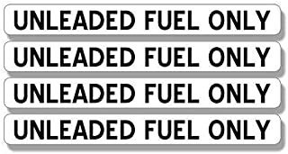 JR Studio .5 x 4 inch 4 Pack: UNLEADED Fuel Only Stickers - Gas Gasoline use Vehicle Small Vinyl Decal Sticker Car Waterproof Car Decal Bumper Sticker