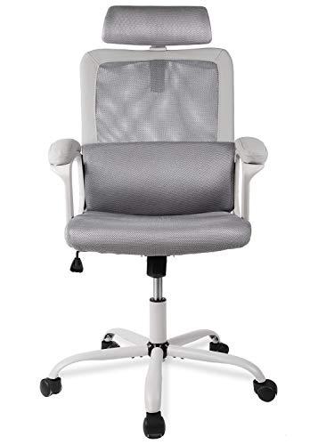 Smugdesk Ergonomic Office Chair, High Back Mesh Desk Office Chair Adjustable Headrest Computer Task Chair - Gray
