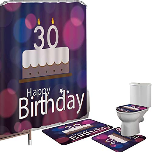 Shower Curtain Set Bathroom Accessories Carpet Set 30th Birthday Decorations Bath Mat Contour Rug Toilet Cover Graphic Cake with Candles on Abstract Bokeh Background,Pink Navy Blue White Non-Slip Wate
