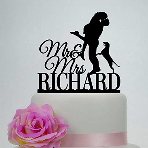Decoración para tarta de novia y novio con perro, color negro, silueta de pareja de acrílico para decoración de fiesta Mr and Mrs
