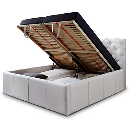 Luxus Polsterbett mit Bettkasten Nelly XXL 180×200 cm Kunslederbett Doppelbett Ehebett Weiß - 5