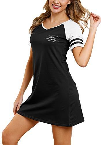DOTIN Damen Nachthemd Nachtwäsche Baumwolle Lange Nachtkleid Kurzarm Sleepshirt Lounge Pyjamakleid Schlafanzug