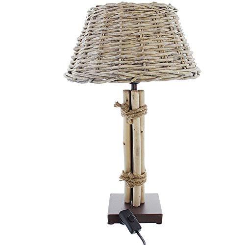 SIDCO Tischlampe Tischleuchte Korblampe Nachttischlampe Holz Lampe Treibholz 47cm