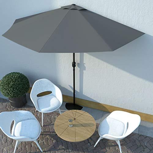 FAMIROSA Balkon-Sonnenschirm mit Alu-Mast Anthrazit 300×150 cm Halbrund