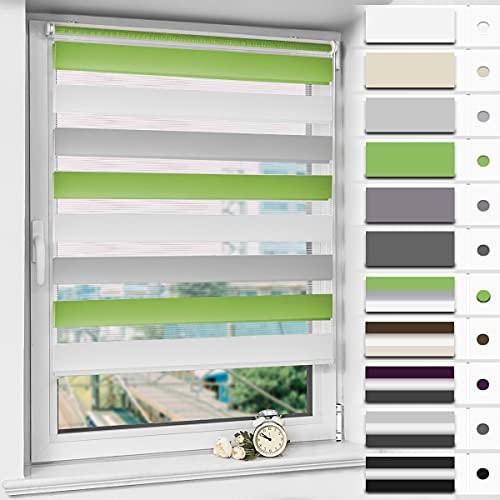 Magiea Doppelrollo Klemmfix ohne Bohren, Grün-Grau-Weiß 95 x 130 cm (BxH) Klemmrollo, Duo Rollos für Fenster und Tür, Sonnenschutzrollo Seitenzugrollo Fensterrollo lichtdurchlässig und verdunkelnd