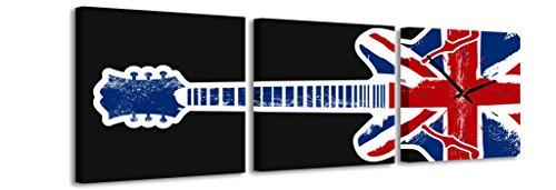Quadrato Orologio de parete Bandiera britannica la chitarra su sfondo nero musica Inghilterra Gran Bretagna