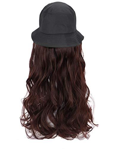 Azz Emmer regenhoed Dame, hoed Pruik Geïntegreerd, Zomer Zon Visor Lange Krullend Haar (55cm), Bruin Onzichtbare Pruik, Flat Cup Vrouwen