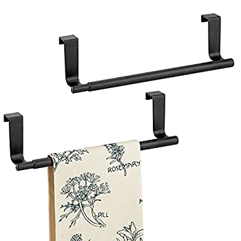 mDesign Adjustable Expandable Kitchen Over Cabinet Towel Bar Rack - Hang on Inside or Outside of Doors Storage for Hand Dish Tea Towels - Customizable to 17  Wide 2 Pack - Matte Black