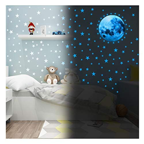 LiKin Fluorescente Decoración de Pared,3D Adhesivos Luminosos de Pared Techo Pegatinas Pared Decorativas para Chico Niño Bebé