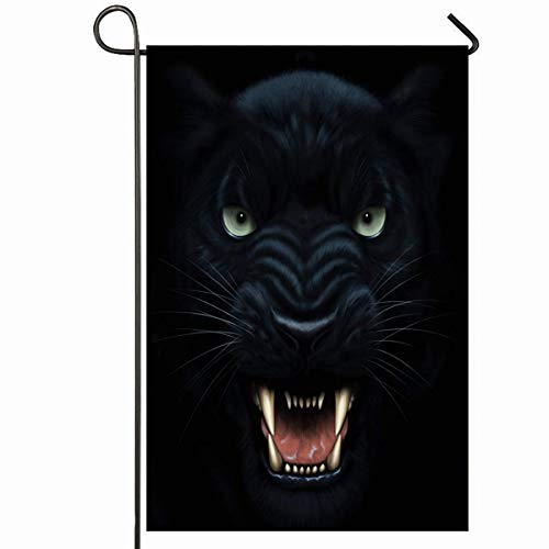 PQU Awesome Yard Flag,Scary Black Angry Panther Gesicht Dunkelheit Digital Danger Painting Beast Wildkatze Cat Furious Head Cougar Doppelseitig Bedruckte Gartenflaggen,32x45.7cm