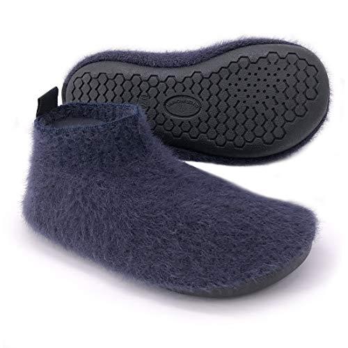 Kids Toddler Fluffy Slipper Socks with Rubber Sole Non-Slip Knit Lightweight House Shoes for Boys Girls Dark Blue
