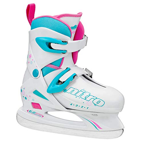 Lake Placid Girls Nitro 8.8 Adjustable Figure Ice Skate, White, Medium