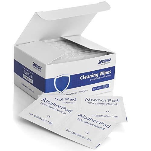 YBWM Toallitas desechables Toallitas de limpieza envueltas individualmente (100pcs) Almohadillas húmedas para la limpieza de la casa y la oficina Salud pública 6x6cm