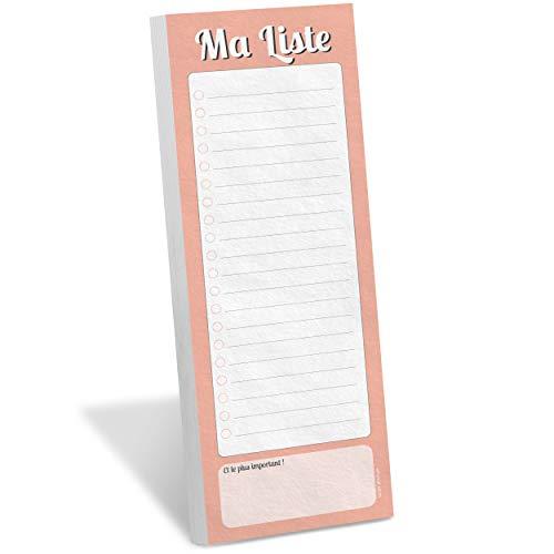 """WHINAT - BLOC NOTE FRIGO MAGNETIQUE - """"Ma Liste"""" - To do & Shopping list aimantée à mettre sur son frigo pour s'organiser, gagner du temps et ne plus rien n'oublier ! (Couleur Pêche)"""