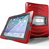UZBL Case for iPad 9.7 6th Generation / 5th Generation, Shockwave Heavy Duty Rugged Case with Screen Protector and Removable Kickstand, Red