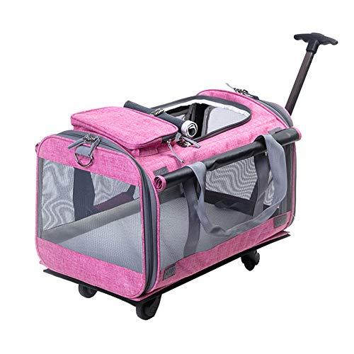MSQL Pet Wheels Rolling Carrier, abnehmbare Haustier-Reisetaschen mit Rädern, Zwei seitliche Erweiterung, mit ausziehbarem Netzfenstergriff,pink