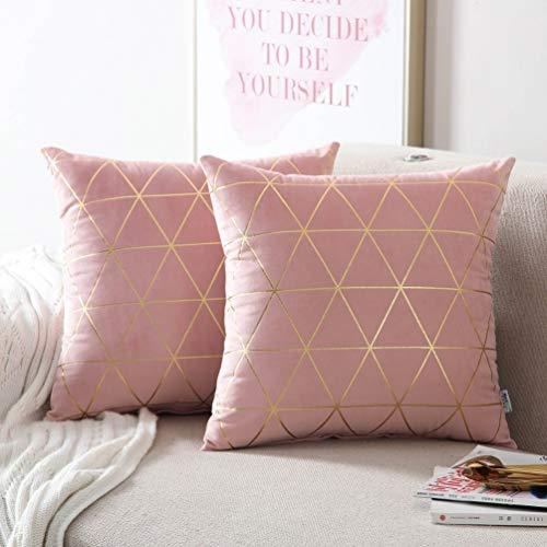 """NordECO HOME Kissenbezüge, 2 Stück, quadratisch, dekorative Kissenbezüge für Sofa, Couch Bett, Heimdekoration, 18 x 18 cm 2 Pieces, 16\"""" x16\"""" Pink2/Gold"""