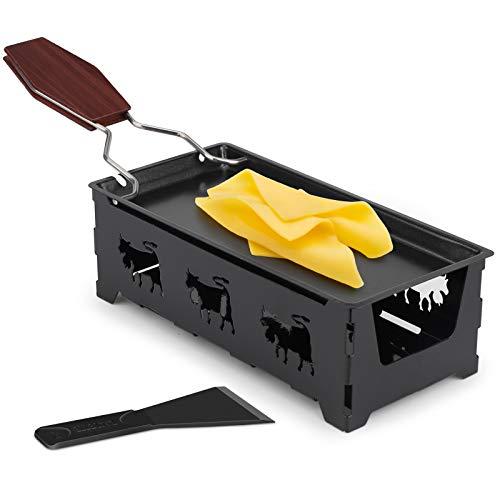Mini Raclette Antihaft-Käse Raclette Rotaster Ofen mit Silikonspatel zum Schmelzen von Käse, Schokolade(Schwarz)