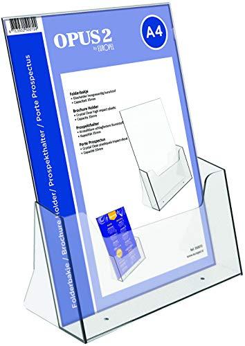 OPUS 2 Prospekthalter Aufsteller - Injektion Prospektständer - DIN A4 - Transparent - Broschürenständer für Büros - Broschürenhalter im Hochformat für Menü, Faltblatt, Flyer