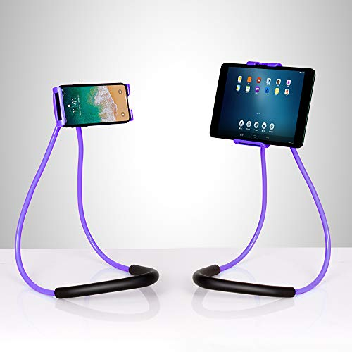 NEX Lazy Cell Phone Holder Stand 360 Rotating Hanging on Neck Cell Phone Mobile Mount Holder Lazy Bracket DIY Free (Purple)
