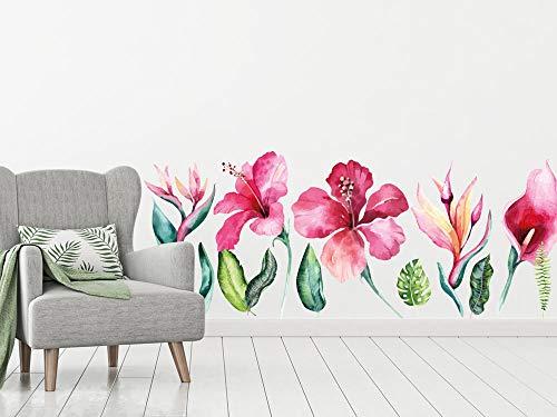 GRAZDesign Wandtattoo Blumen Hibiskus Vintage - Pink Blumenmuster Tapete Schlafzimmer Wandaufkleber über Sofa Bett Kommode Wandmalerei Flur Wohnzimmer/Blattgröße 150x60cm
