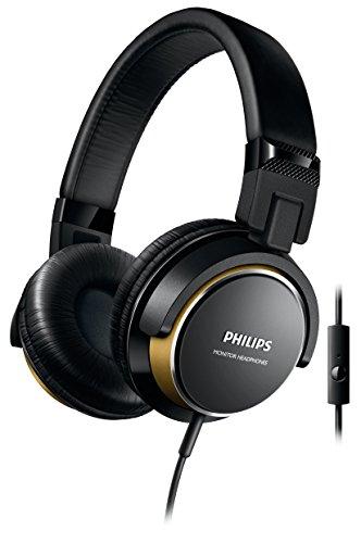 Philips SHL3265BG/00 - Auriculares de diadema cerrados tipo DJ (2000 mW, micrófono, plegables), negro y dorado