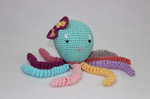 Pulpo amigurumi para recién nacido multicolor. Pulpo de ganchillo - crochet para bebé.