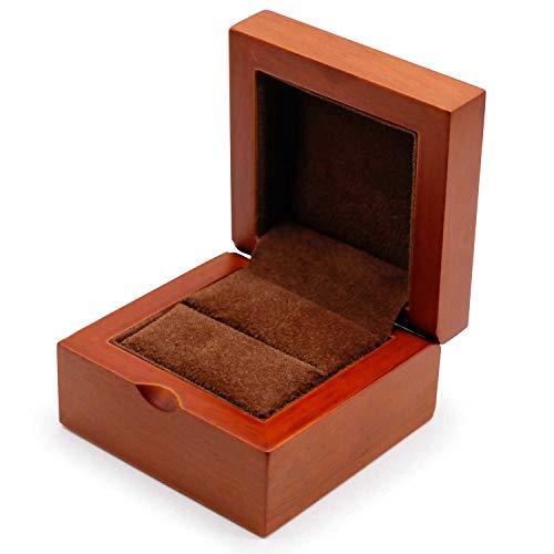 HuWei G0012 Ringschatulle aus Holz, quadratisch, Samt, für Ehering, Schmuck