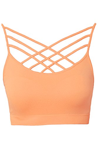TheMogan Women's Sleeveless Cage Bustier Crop Top Strappy Bralette Peach S/M